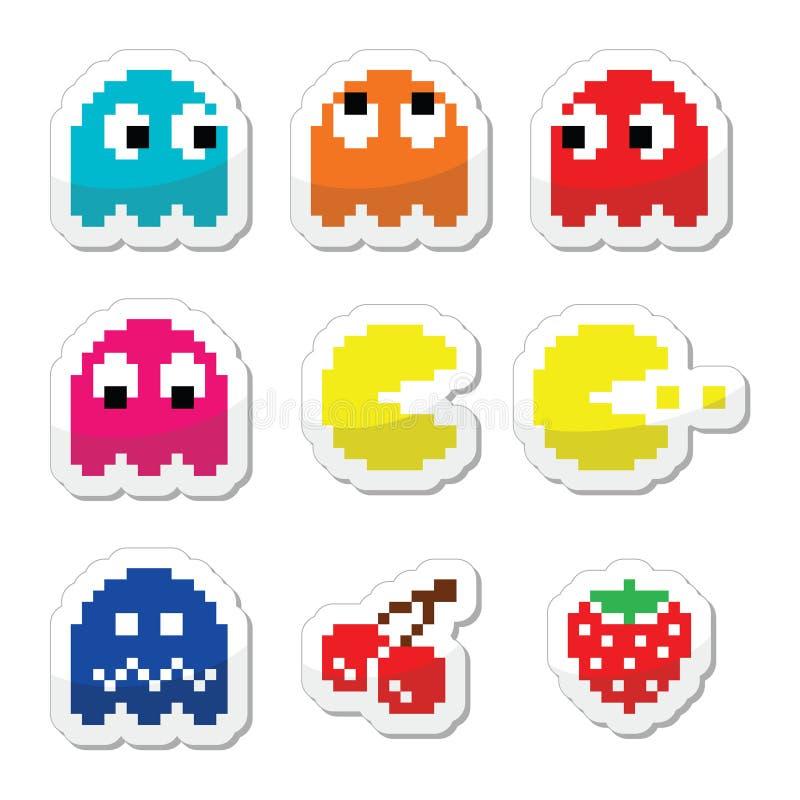 Pacman i duchów 80's gry komputerowej retro ikony ilustracji