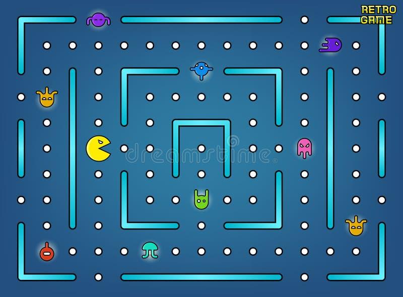 Pacman le gusta el juego de arcada video con la acción del vector de los fantasmas, del laberinto y de la interfaz de usuario ilustración del vector