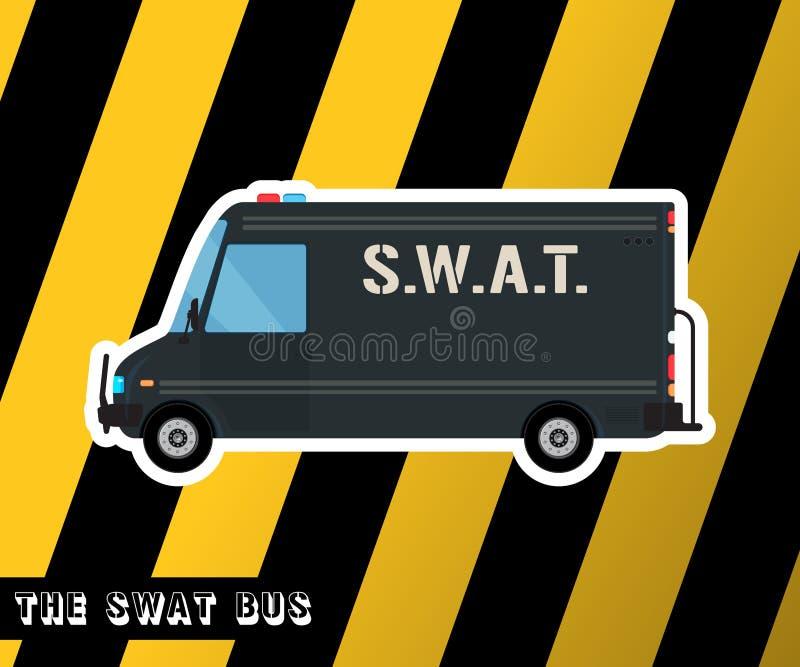 Pacnięcie milicyjny autobus ilustracja wektor