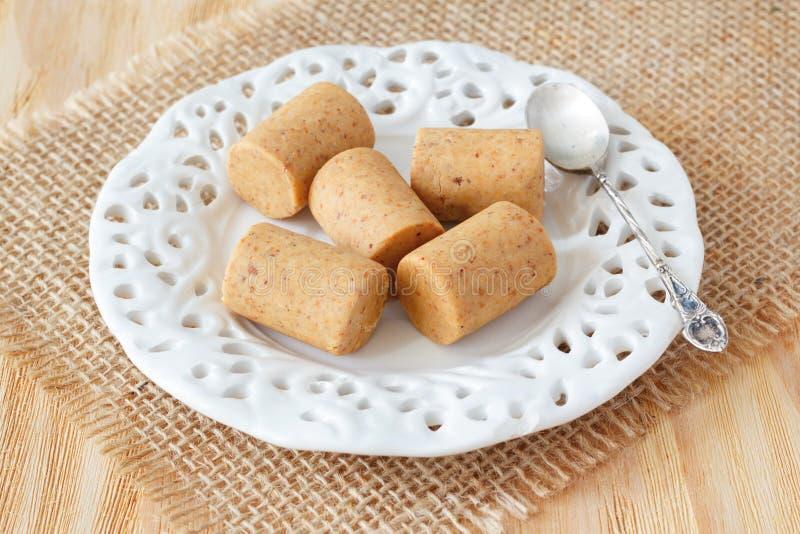 Pacoca - brazilian candy of ground peanut stock photo