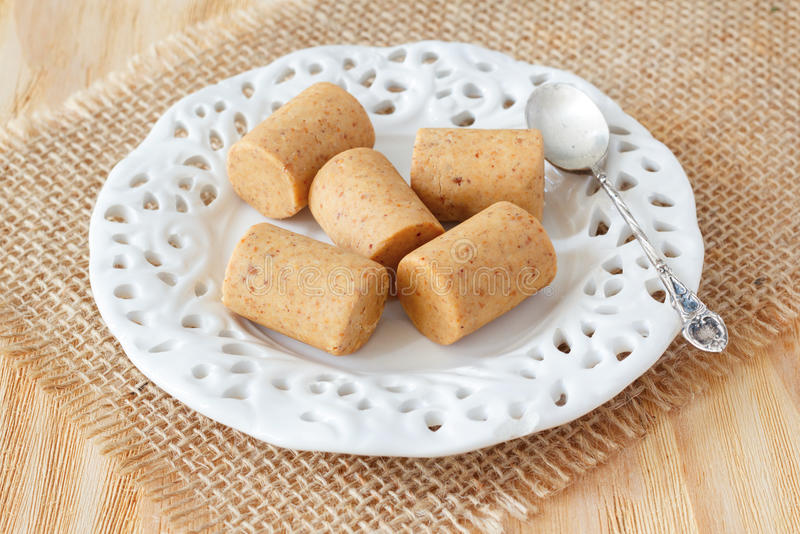 Pacoca - brazylijski cukierek zmielony arachid zdjęcie stock