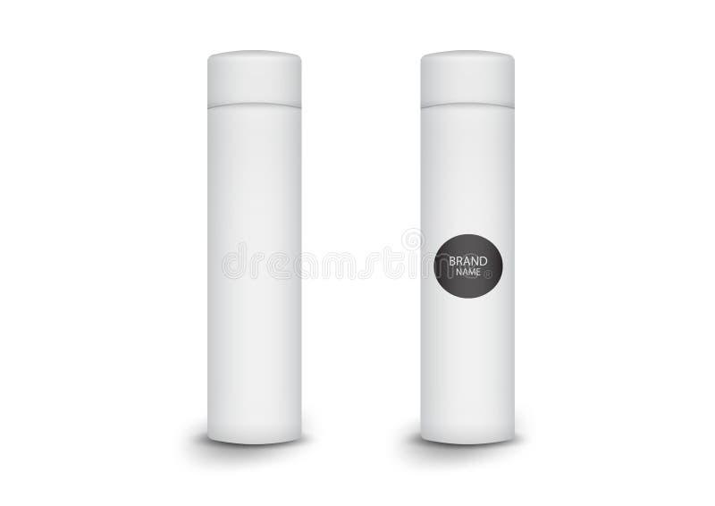 pacote cilíndrico da caixa 3d, projeto de produto, ilustração do vetor ilustração stock