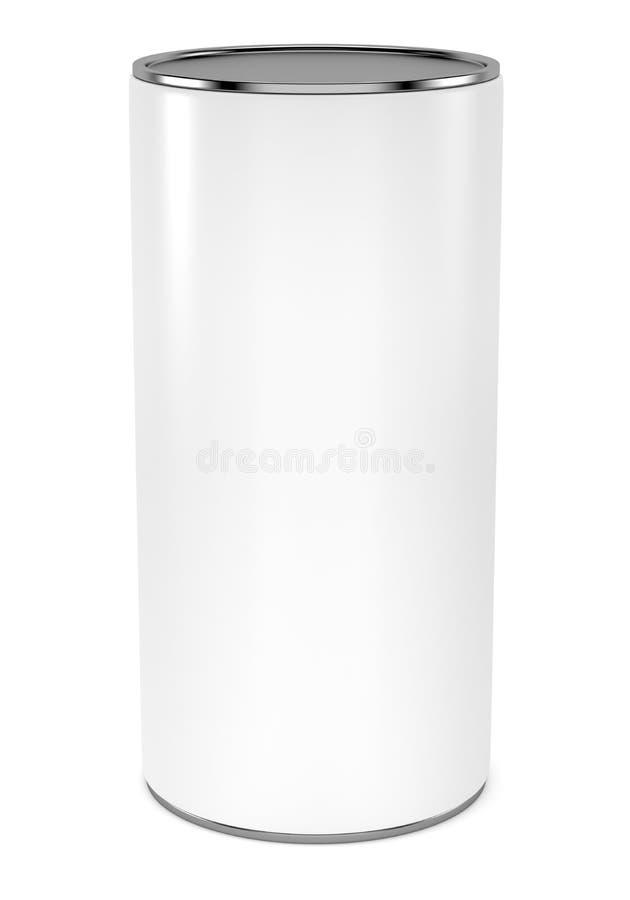 Pacote cilíndrico vazio com molde do modelo do tampão do metal ilustração royalty free