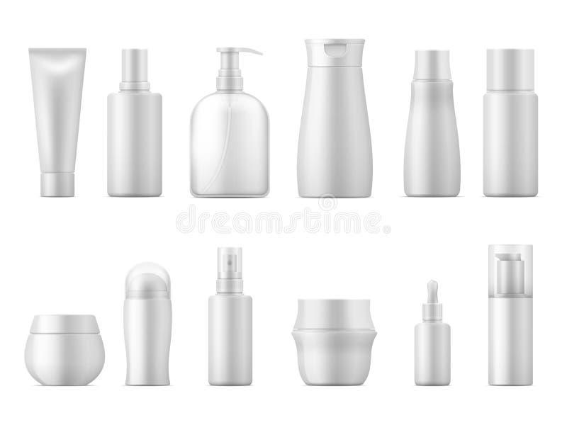 Pacote cosmético realístico Da placa plástica branca do recipiente do champô do tubo da loção do bloco 3D da garrafa do produto p ilustração do vetor
