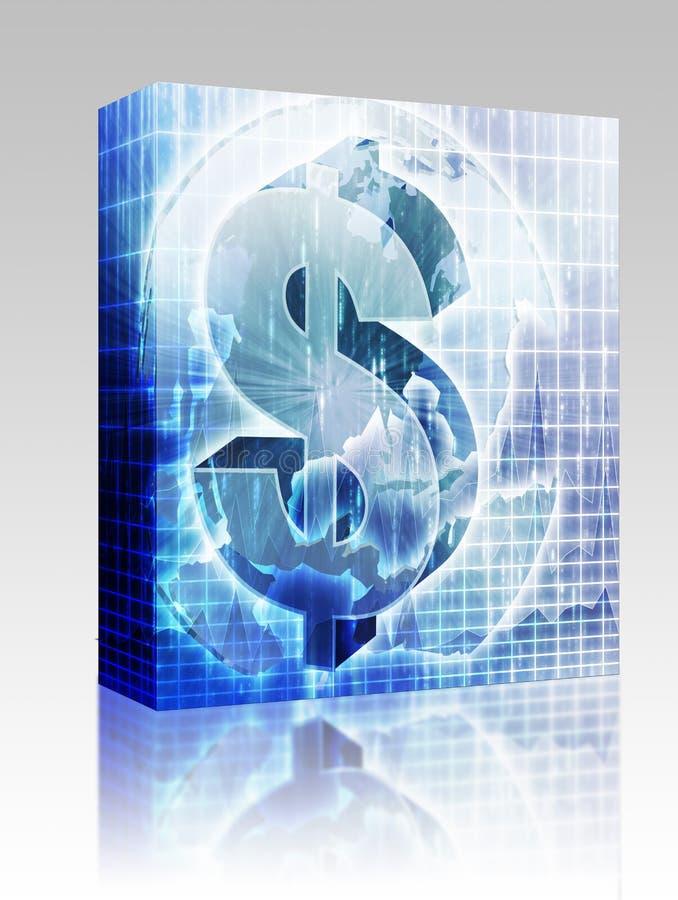 Pacote da caixa do mapa do dólar americano ilustração stock