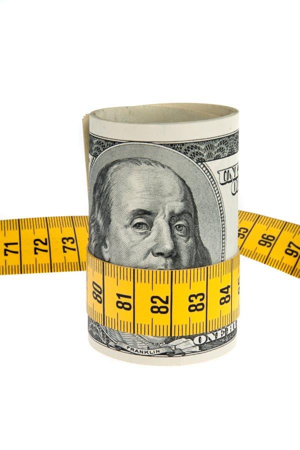 Pacote da economia do símbolo com conta e fita de dólar fotografia de stock royalty free