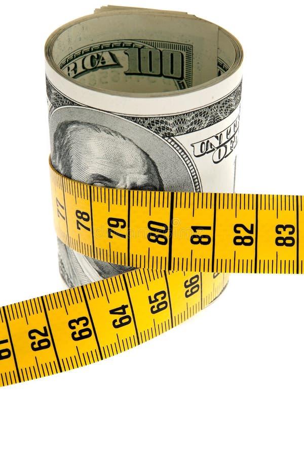 Pacote da economia do símbolo com conta e fita de dólar imagem de stock