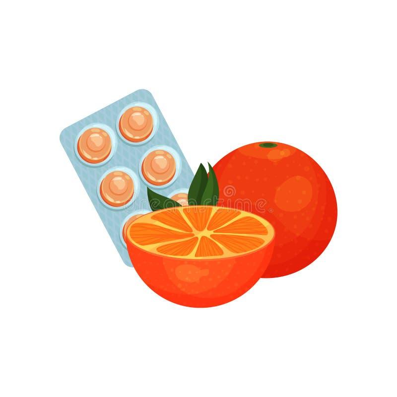 Pacote das pastilhas com gosto alaranjado do sabor do fruto, sugando doces para o vetor dos desenhos animados do remédio da garga ilustração stock