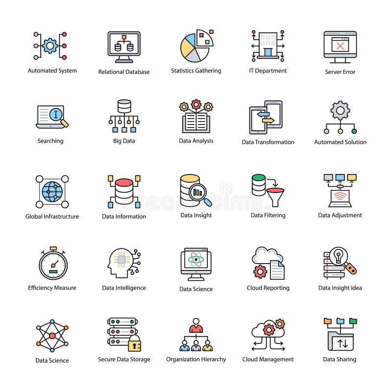 Pacote de ícones lisos do vetor da ciência dos dados ilustração royalty free