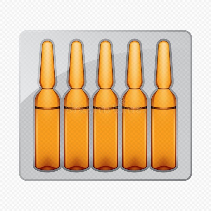 Pacote de ampolas médicas de vidro transparentes ilustração stock