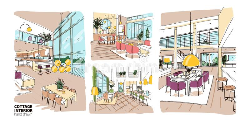 Pacote de desenhos coloridos de interiores da casa de campo do verão completamente da mobília à moda e confortável Grupo de casa  ilustração do vetor