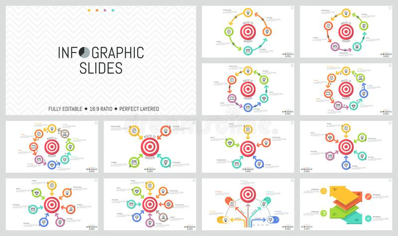 Pacote de disposições de projeto infographic minimalistas Elementos redondos com as setas colocadas em torno do alvo do tiro, obj ilustração royalty free