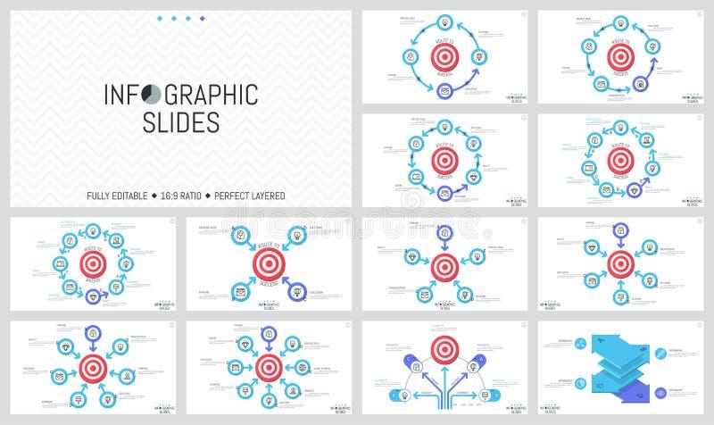 Pacote de disposições de projeto infographic minimalistas Elementos redondos com as setas colocadas em torno do alvo do tiro, obj ilustração stock