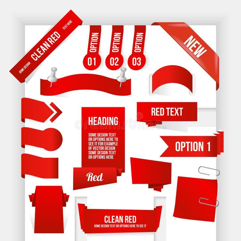 Pacote de elementos vermelhos da Web. Canto e fita Coll ilustração do vetor