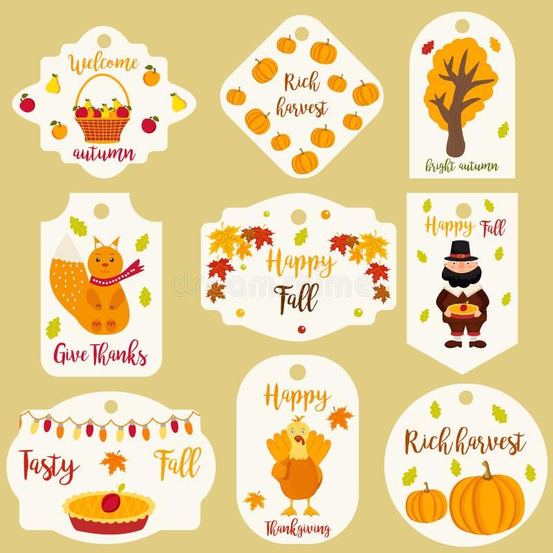 Pacote de etiquetas do outono com caráteres diferentes ilustração do vetor
