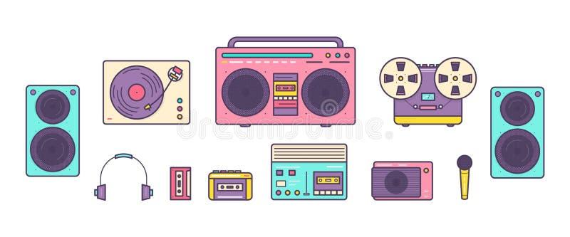 Pacote de jogadores de música análogos retros, bobina a bobina e de gravadores de cassetes, plataforma giratória, fones de ouvido ilustração royalty free