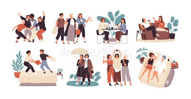 Pacote de jovens mulheres ou de namoradas que gastam o chá bebendo do tempo junto - no café, andando com guarda-chuva, descanso ilustração stock