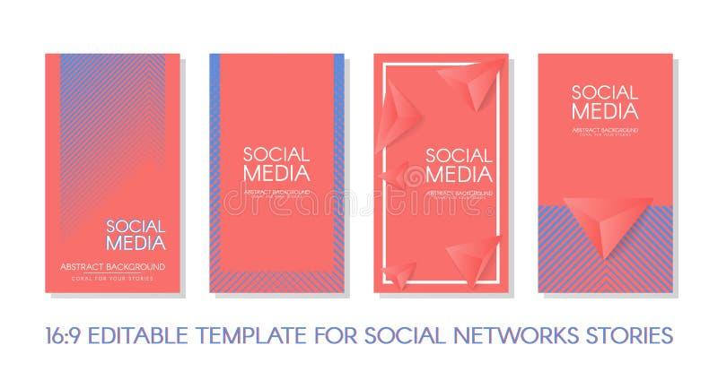 Pacote de modelos de vetor de Histórias Editáveis 16:9 Conceber fundos para as redes sociais Fundo do banner, site, aplicativo mó ilustração stock