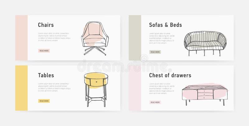 Pacote de moldes da bandeira da Web com vários tipos de mobiliário acolhedor no estilo na moda e no lugar de Scandic para o texto ilustração royalty free