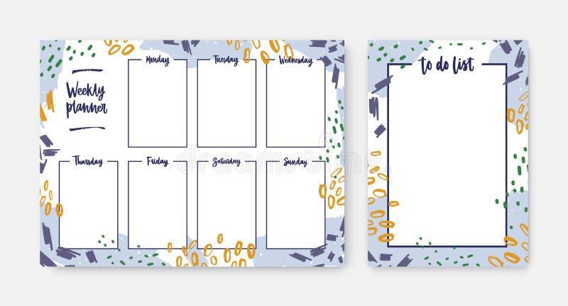 Pacote de moldes semanais do planejador e da lista de afazeres com o quadro decorado por cursos da escova, por traços da pintura  ilustração royalty free