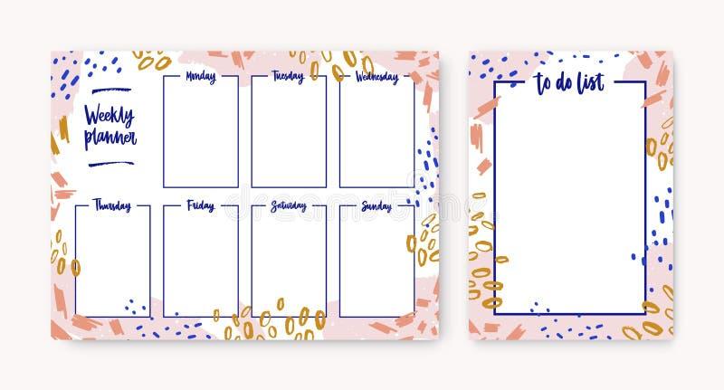 Pacote de moldes semanais pessoais do planejador e da lista de afazeres com o quadro feito de manchas coloridas, traços da pintur ilustração stock