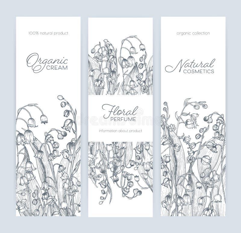 Pacote de moldes verticais da bandeira, da etiqueta ou da etiqueta com o lírio lindo da floresta das flores de florescência e do  ilustração royalty free