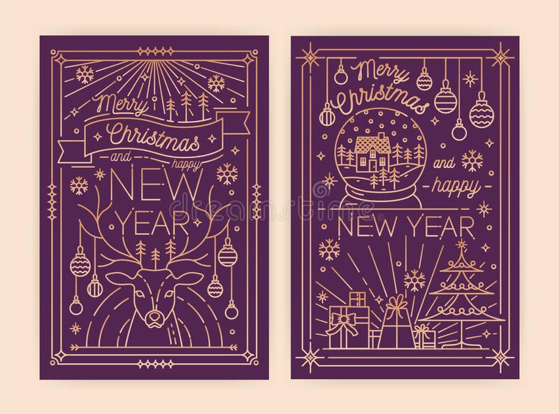 Pacote de moldes verticais do convite do Natal e do cartão, do inseto, do cartaz ou do partido do ano novo com desejos do feriado ilustração do vetor
