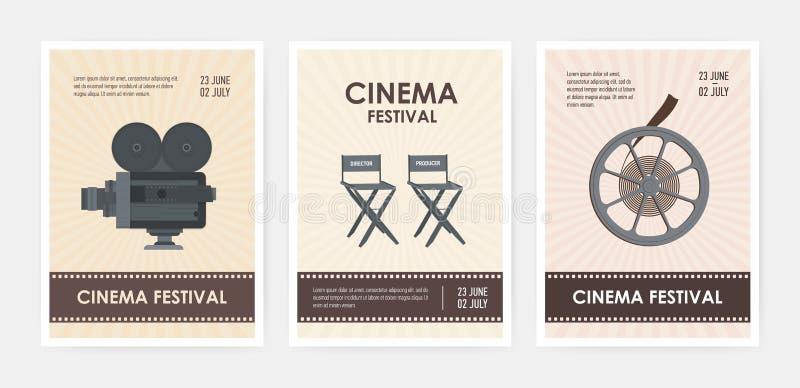 Pacote de moldes verticais do inseto ou do cartaz com câmera retro, cadeiras do diretor e do produtor, carretel de filme e lugar  ilustração royalty free