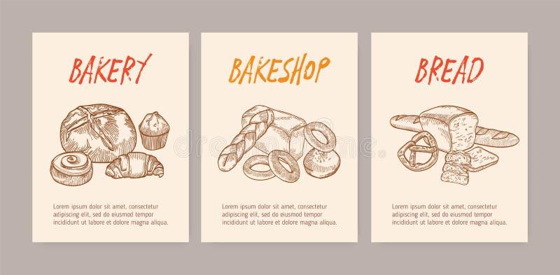 Pacote de moldes verticais do inseto ou do cartaz com pães saborosos, pastelaria deliciosa doce ou os produtos cozidos caseiros ilustração royalty free