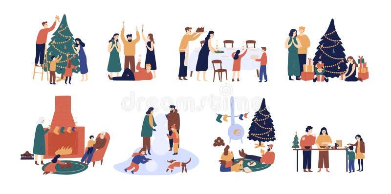 Pacote de povos que preparam-se para e que comemoram feriados de inverno Homens, mulheres e crianças decorando a árvore de Natal ilustração royalty free