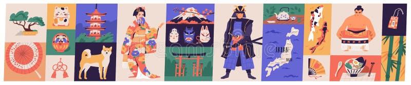 Pacote de símbolos tradicionais de Japão - pagode, gueixa no quimono, peixe do koi, guarda-chuva do wagasa, árvore dos bonsais, M ilustração stock
