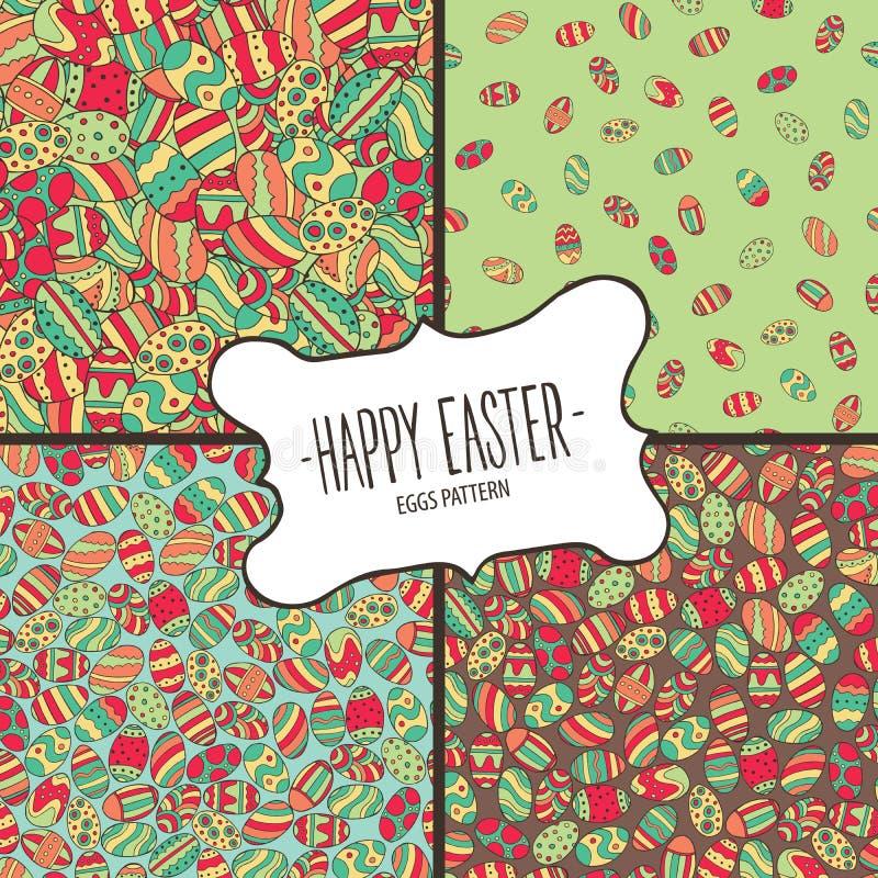 Pacote de testes padrões dos ovos da páscoa coloridos ilustração royalty free