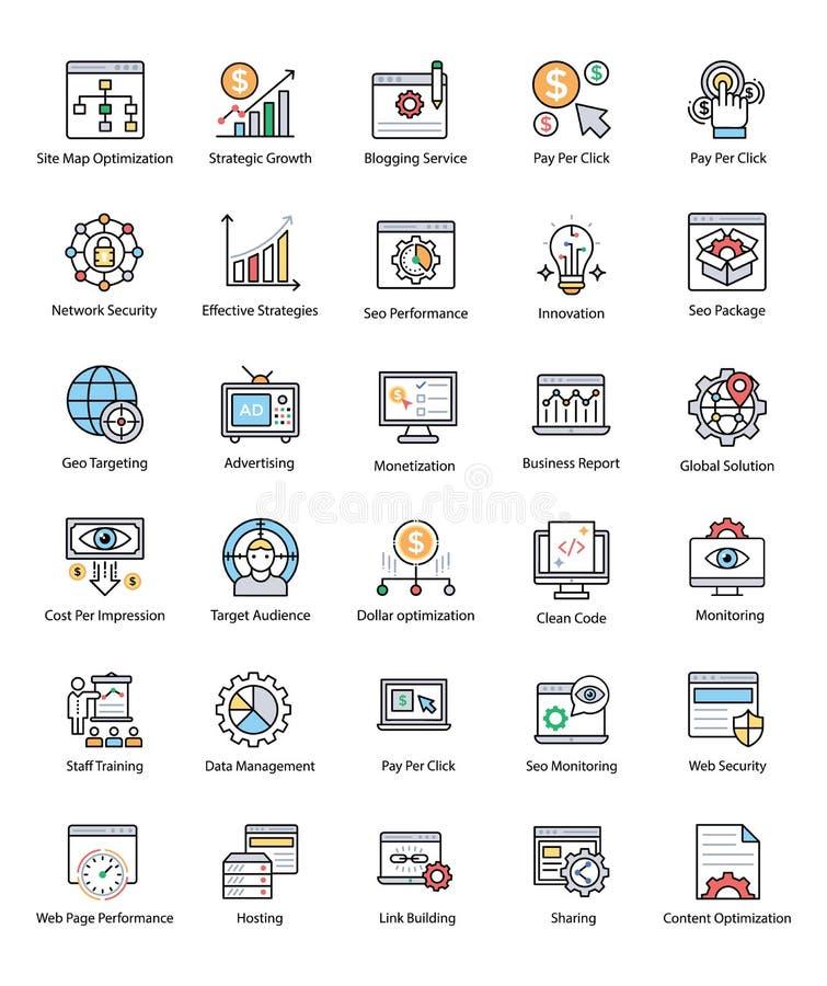 Pacote de Web e de Seo Flat Vetora Icons ilustração do vetor