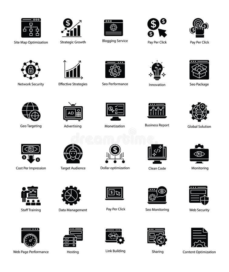 Pacote de Web e de Seo Glyph Vetora Icons ilustração royalty free