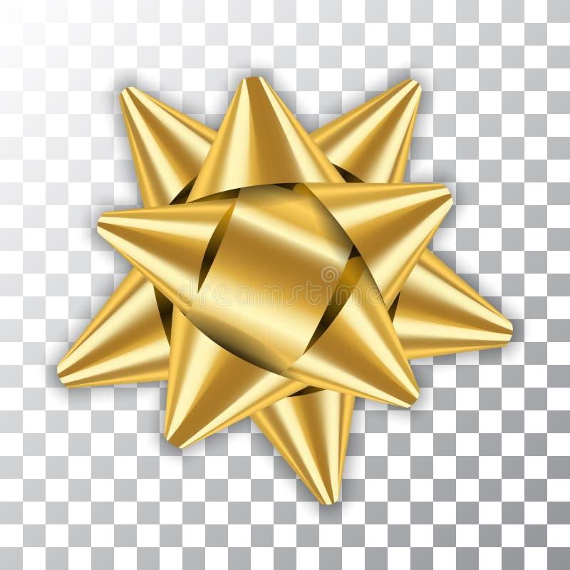 Pacote do elemento da decoração da fita da curva 3D do ouro O presente dourado brilhante do presente do molde isolou o fundo tran ilustração royalty free