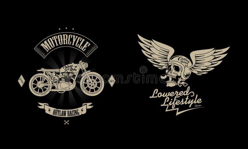 Pacote do logotipo do vintage da motocicleta ilustração do vetor