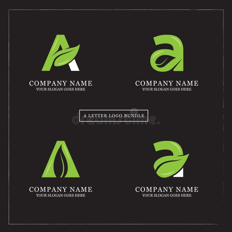 Pacote do projeto do logotipo da letra da folha A da natureza ilustração do vetor