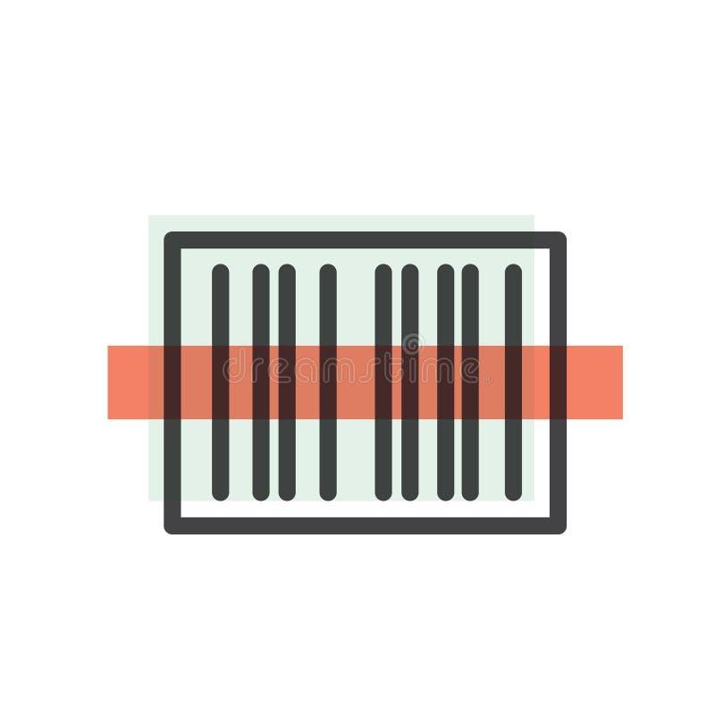 Pacote do símbolo do código de barras, processo da máquina do varredor ilustração stock