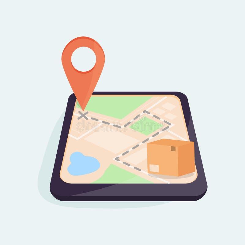 Pacote fechado situado no mapa de GPS, movimento da caixa de Brown ao ponteiro do mapa Dispositivo móvel com um mapa na tela Parc ilustração royalty free