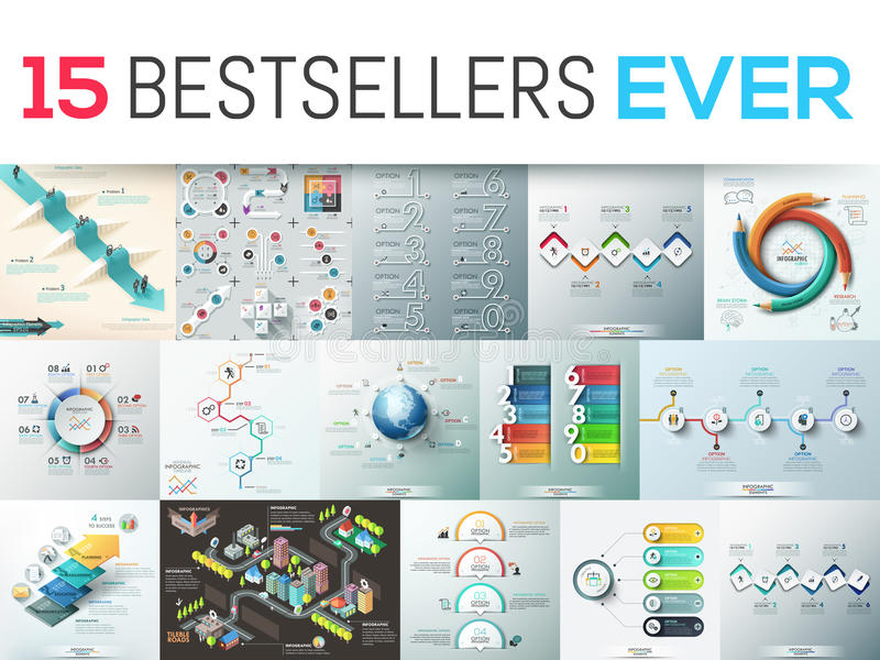 Pacote grande de 15 moldes infographic modernos do projeto ilustração royalty free