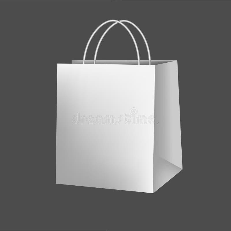 Pacote luxuoso de papel vazio do presente no branco com a ilustração realística do modelo 3d do punho isolada no fundo vazio ilustração royalty free