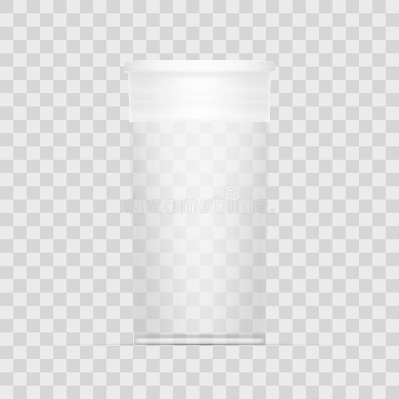 Pacote médico cilíndrico transparente vazio ilustração do vetor