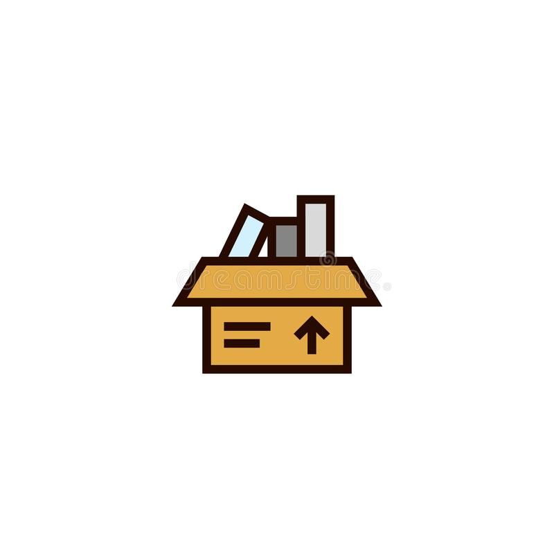 Pacote movente símbolo da caixa de cartão com completamente do índice Conceito do internamento projeto fino limpo simples do esti ilustração do vetor