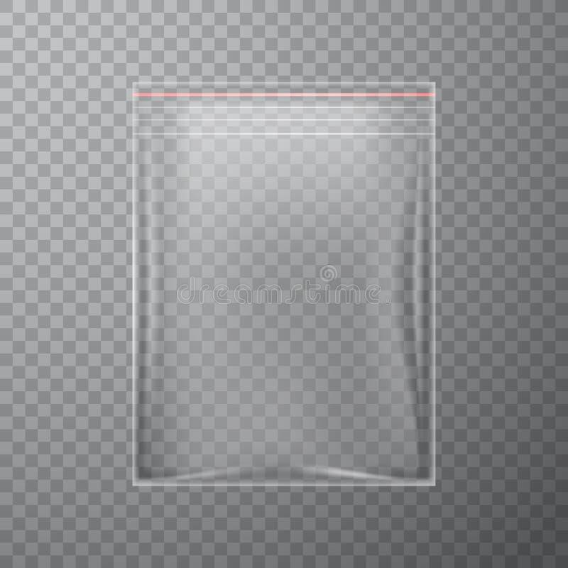 Pacote plástico transparente do fecho de correr ilustração stock