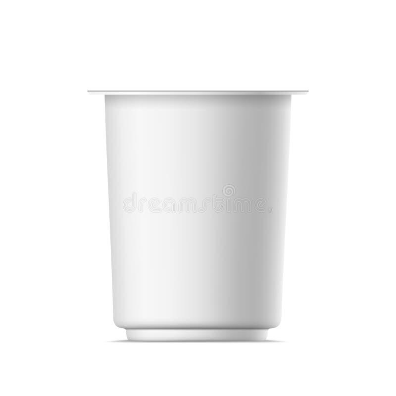 Pacote realístico do iogurte do vetor ilustração stock