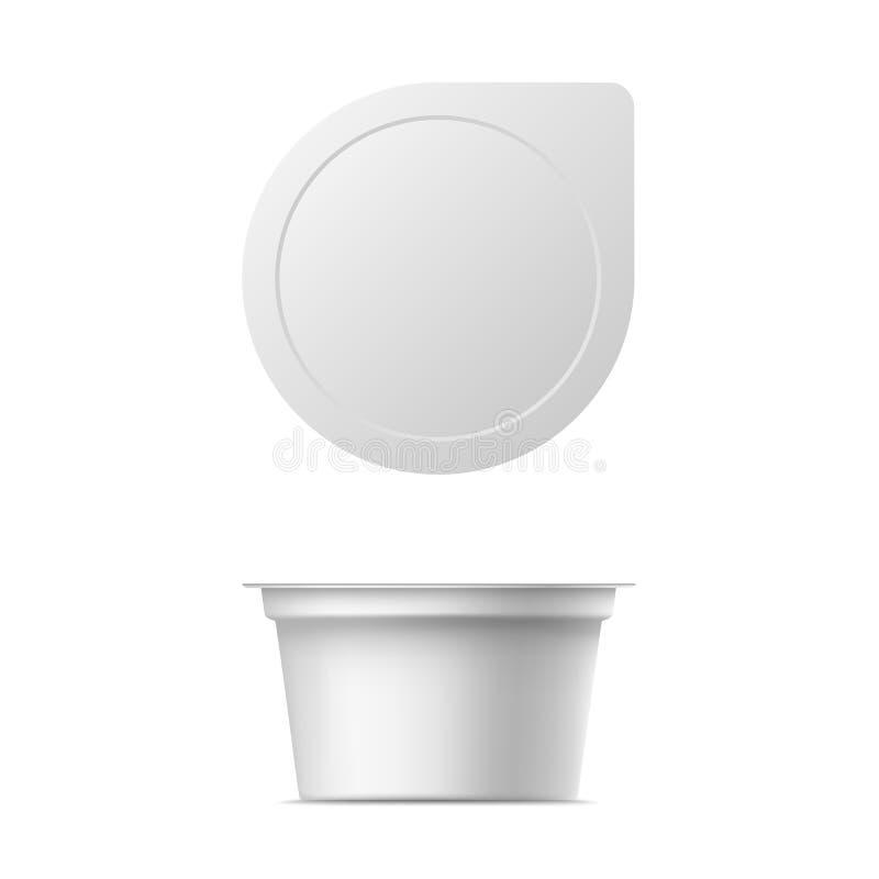 Pacote realístico do iogurte do vetor ilustração royalty free