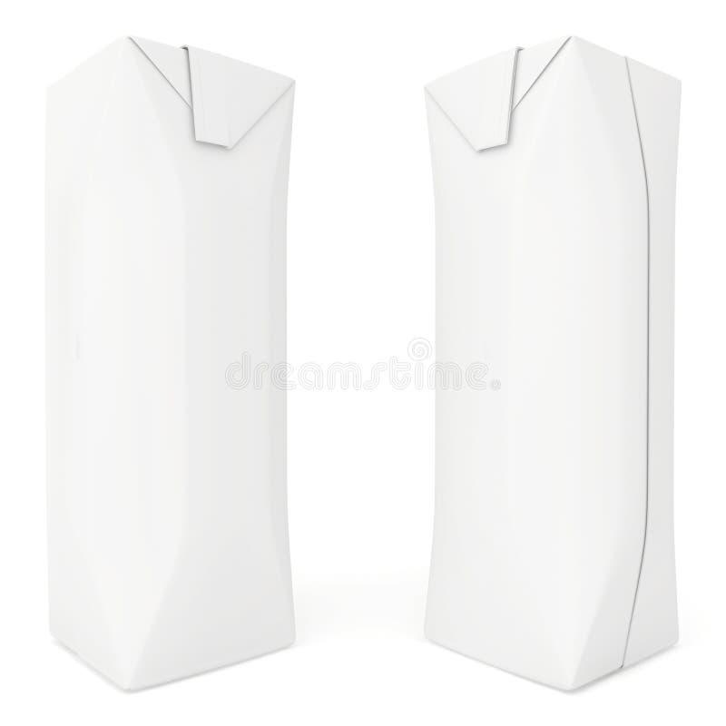 Pacote vazio ajustado do suco 3d rendem no branco ilustração royalty free