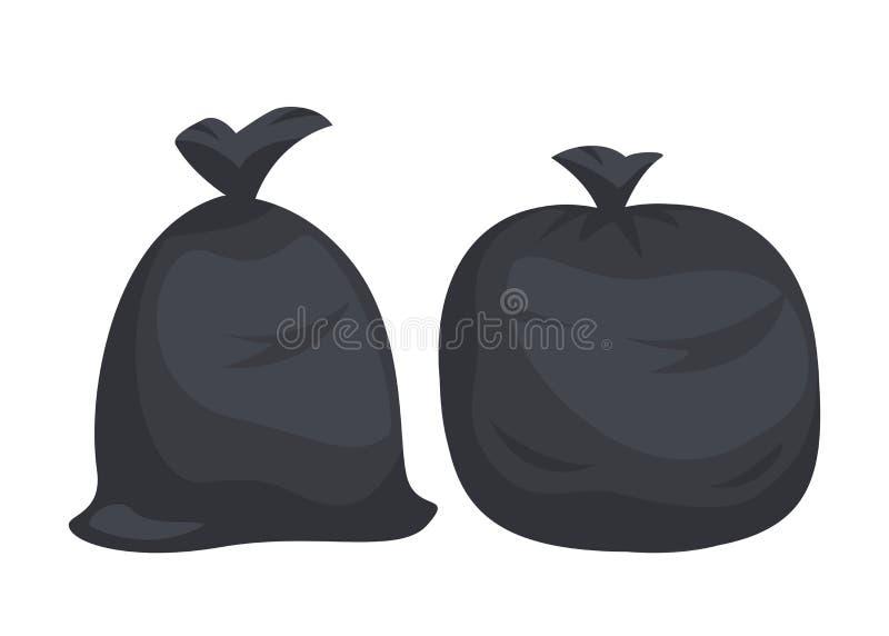 Pacotes com lixo Sacos de plástico pretos grandes com os desperdícios isolados no fundo branco Saco completamente da maca e dos d imagem de stock