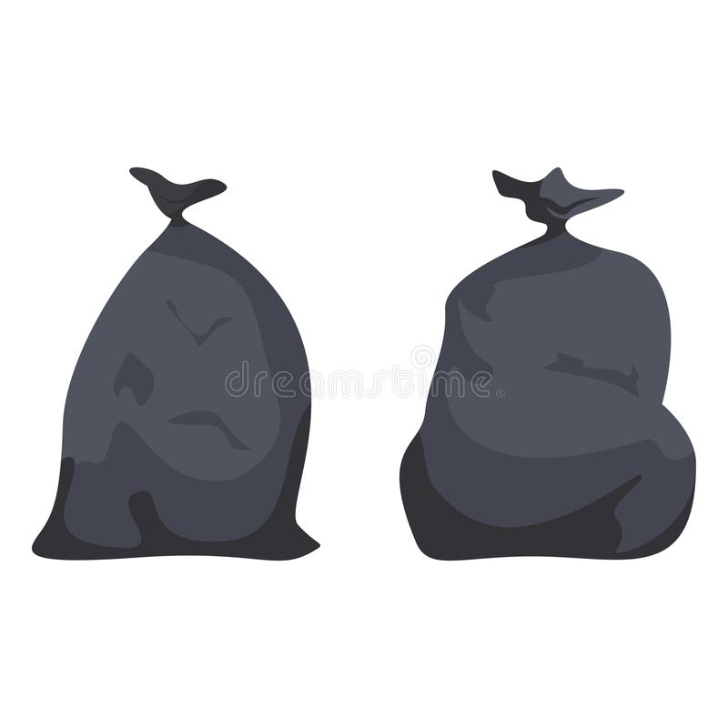 Pacotes completos pretos com lixo Sacos de plástico com desperdícios, maca, desperdícios ilustração stock