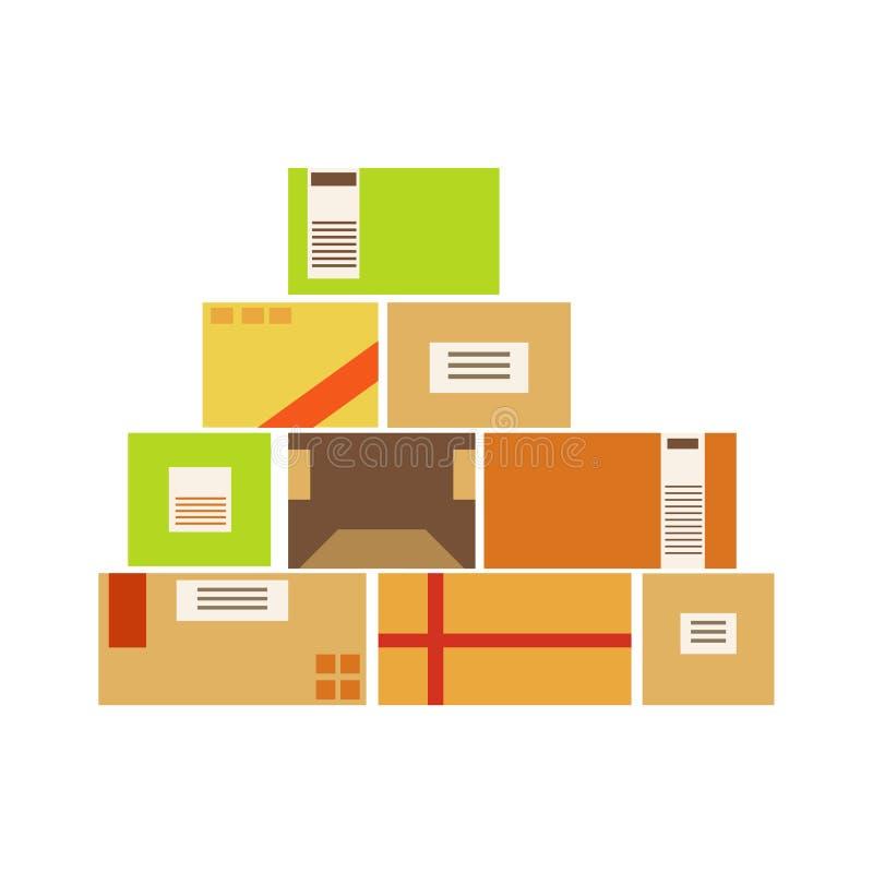 Pacotes da caixa de papel empilhados acima no armazém armazenado para a expedição mais atrasada e a entrega ilustração do vetor